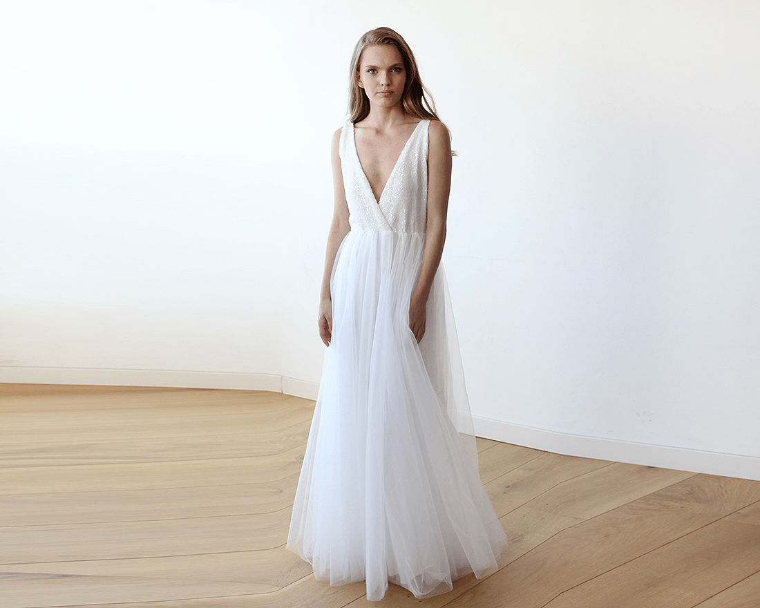 Ivory V Neck Maxi Dress Minimalist Wedding Gown: Ivory Sequins And Tulle Bridal Gown, Simple Sleeveless