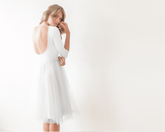 Ivory Open Bacl Tulle Midi Dress 1051