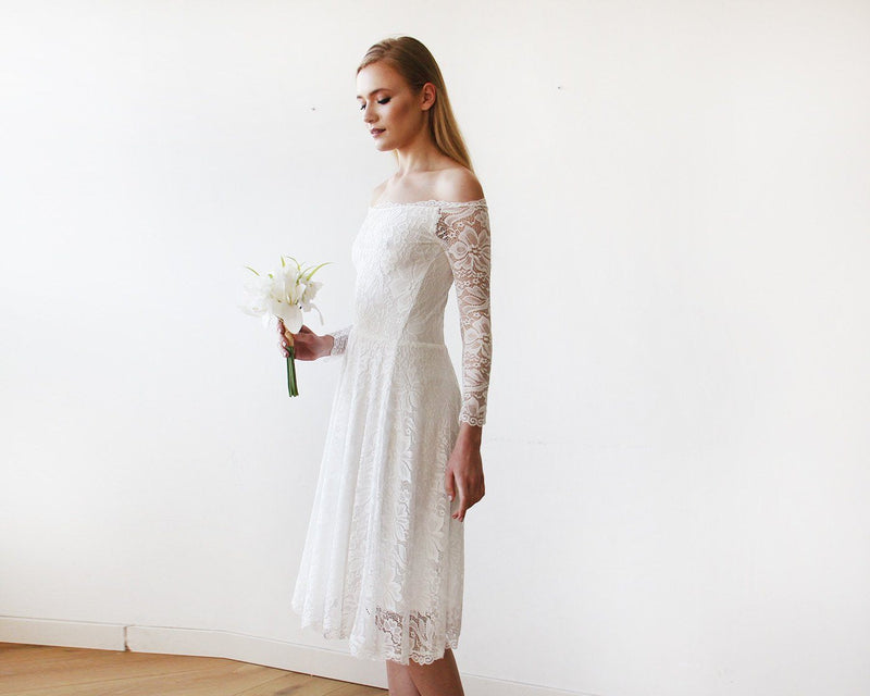 Ivory Off-The-Shoulder Floral Lace Long Sleeve Midi Dress 1149 - Blushfashion
