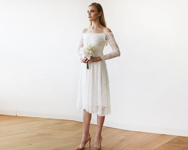 Ivory Off-The-Shoulder Floral Lace Long Sleeve Midi Dress 1149
