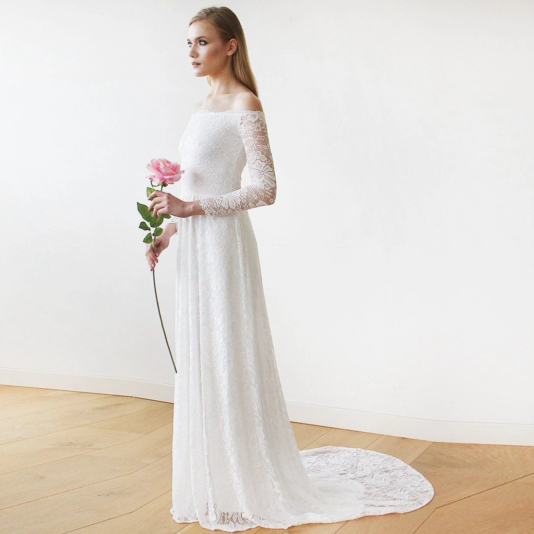 Ivory Off-The-Shoulder Floral Lace Long Sleeve Maxi Dress with Train 1148