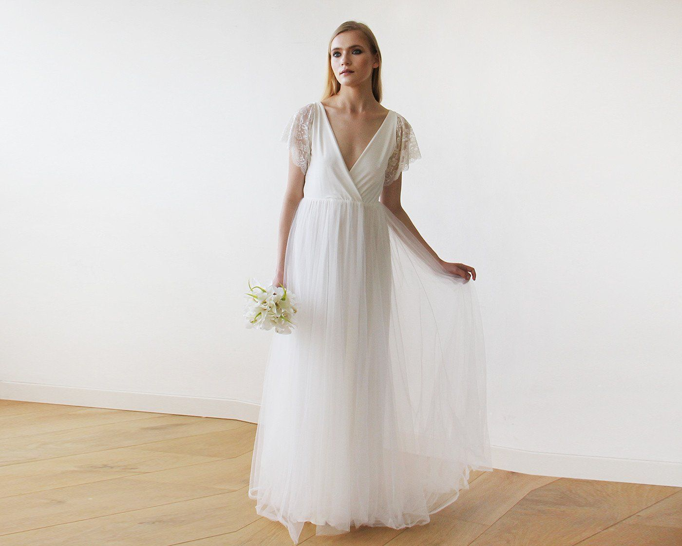 Ivory Lace Sleeves and Maxi Tulle Bridal Gown 1160 - Blushfashion