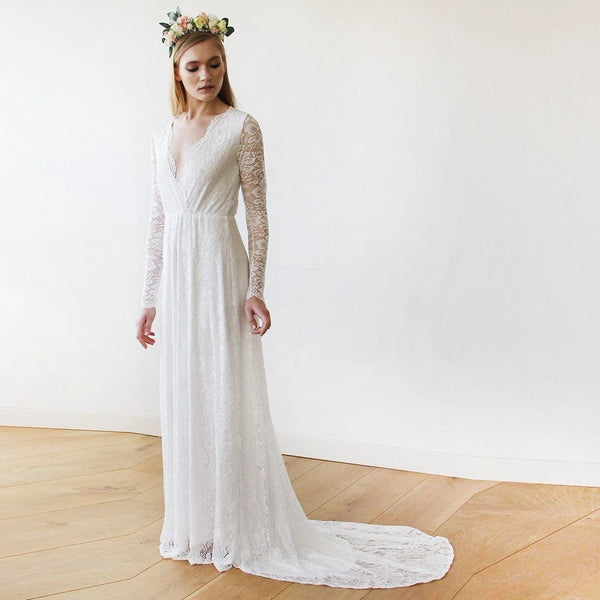 Ivory Wrap Floral Lace Long Sleeve Gown with a Train