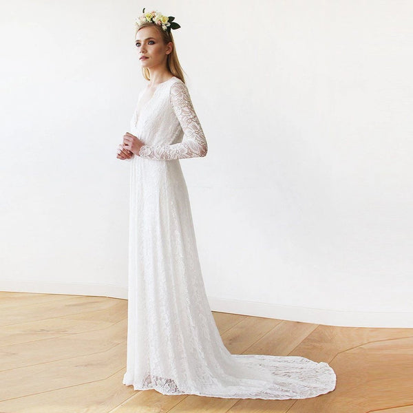 Ivory Wrap Floral Lace Long Sleeve Gown with a Train  1151