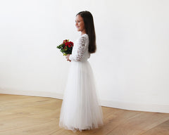 Mini Me Collection Ivory tulle and lace long sleeves gown,  1125