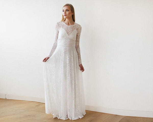 cd1eac1116e ... Round Neckline Bridal Lace Dress With Long Sleeves 1147