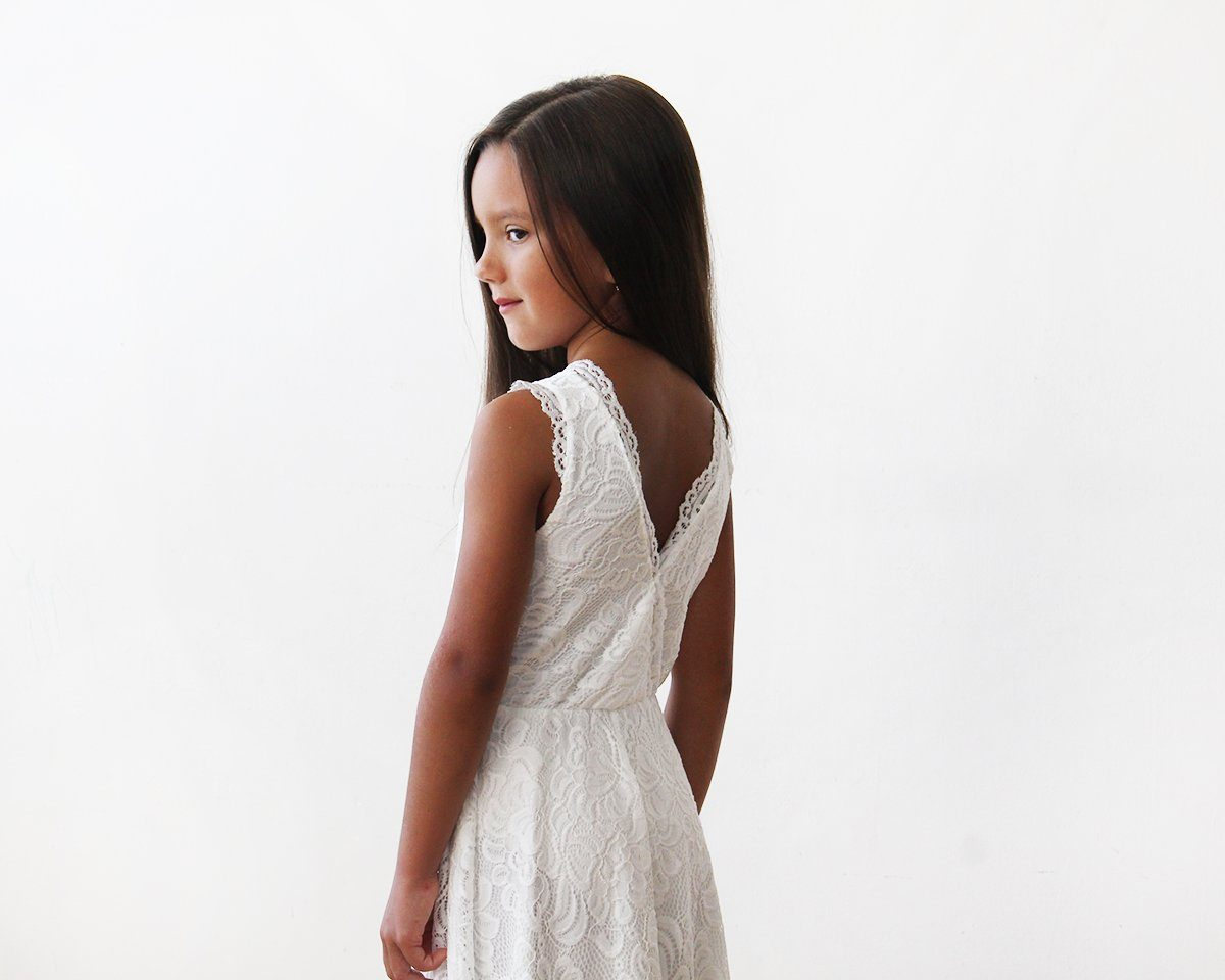Midi Ivory All Lace Sleeveless Flower Girl Dress 5048 - Blushfashion