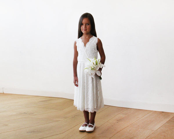 Midi Ivory All Lace Sleeveless Flower Girl Dress 5048