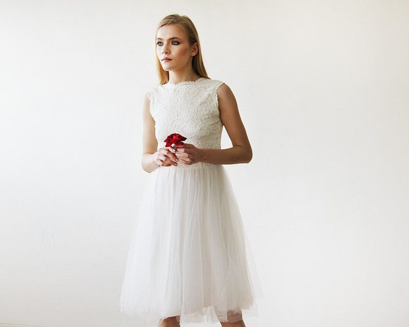 Ivory Lace & Tulle Sleeveless Midi Dress #1159