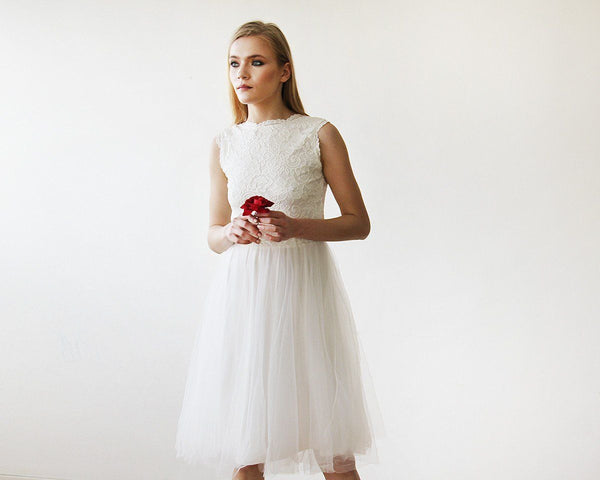Ivory Lace And Tulle Sleeveless Midi Dress 1159