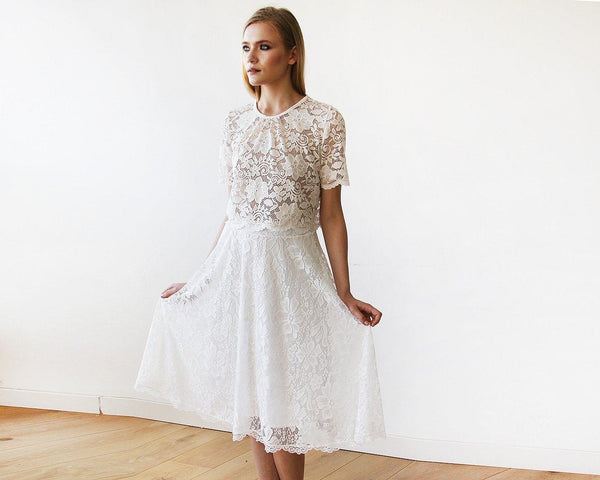 Floral Lace Midi bridal skirt