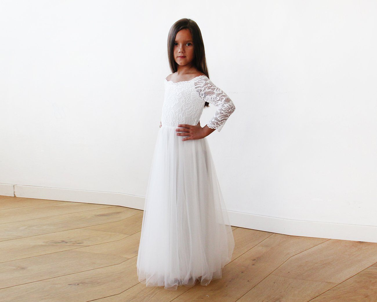 Ivory Off-The-Shoulder Lace and Tulle Maxi Girls Gown 5040 - Blushfashion