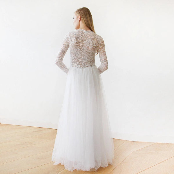 Round Neck-Line Long Sleeves Sheer Lace and Maxi Tulle 1152 - Blushfashion