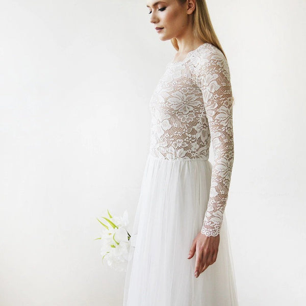 Round Neck-Line Long Sleeves Sheer Lace and Maxi Tulle