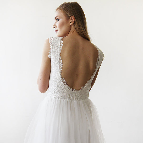 Ivory Tulle & Lace Sleeveless Maxi Dress #1145