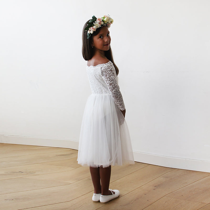 Off-The-Shoulder Ivory Lace & Tulle Midi Girls Gown #5041