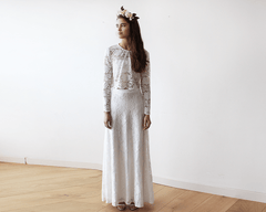 Bridal Ivory Lace Maxi Skirt 3021 - Blushfashion