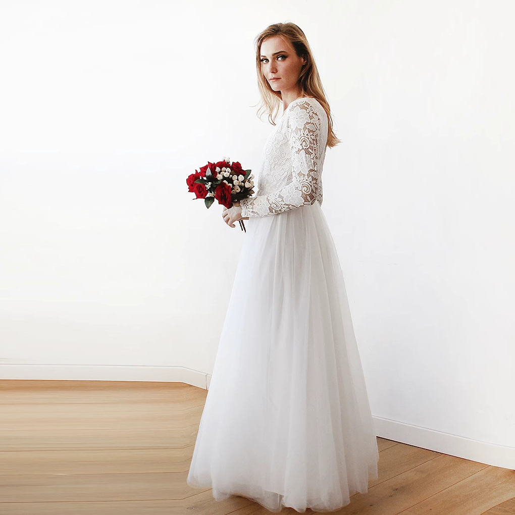 Ivory tulle and lace long sleeve wedding maxi dress 1125 for Long maxi dresses for weddings