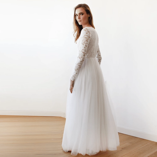 Ivory Tulle and Lace Long Sleeve Wedding Maxi Dress 1125 - Blushfashion