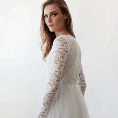 Ivory Tulle and Lace Long Sleeve Wedding Train Gown 1164 - Blushfashion