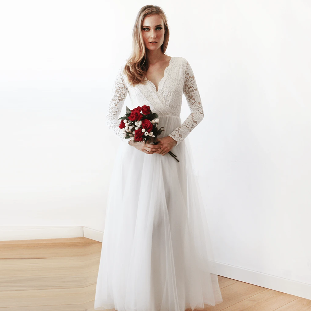 Ivory tulle and lace long sleeve wedding maxi dress 1125 for Long sleeve wedding dress topper