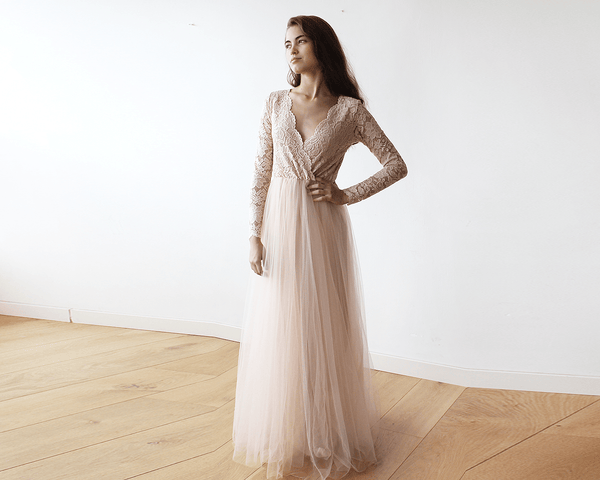 Blush Pink Tulle and Lace Long Sleeves maxi dress