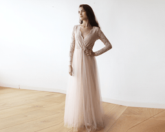 Blush Pink Tulle and Lace Long Sleeve maxi dress 1125 - Blushfashion