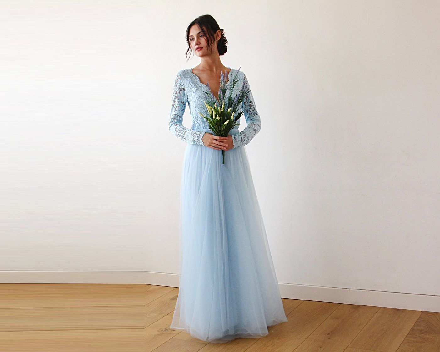 Light Blue Tulle and Lace Long Sleeve Wedding Maxi Dress 1125 - Blushfashion