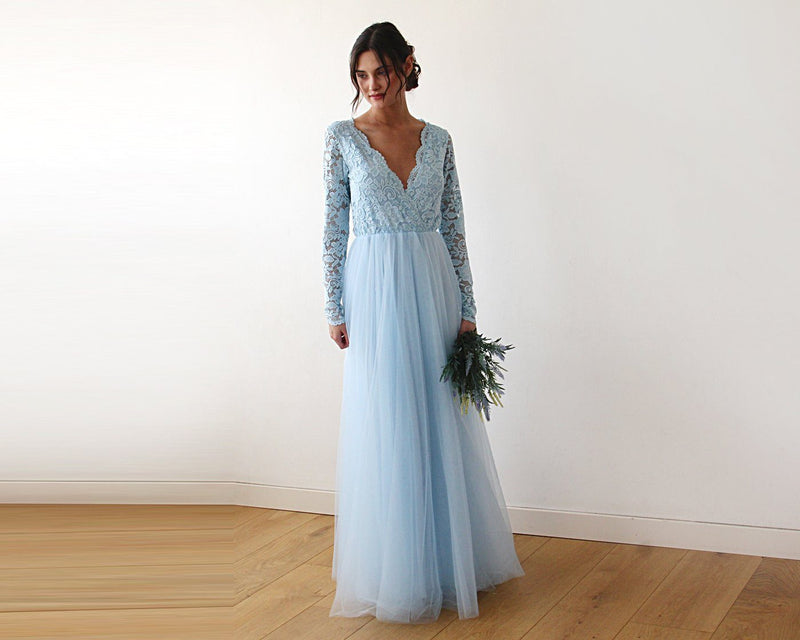 Light Blue Tulle and Lace  Dress  #1125
