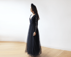 Black Tulle and Lace Long Sleeves maxi dress 1125
