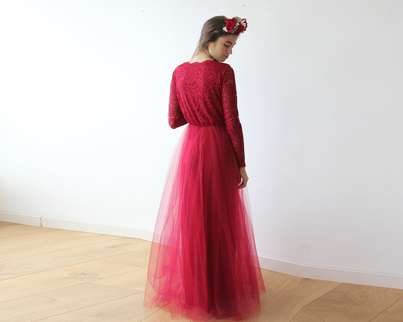 Bordeaux Tulle and Lace Long Sleeves maxi dress 1125