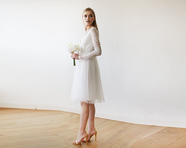Ivory Tulle & Lace Midi Long Sleeves Dress 1144