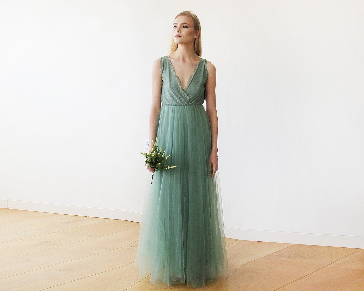 Sage Tulle and Lace Maxi Gown 1113 - Blushfashion
