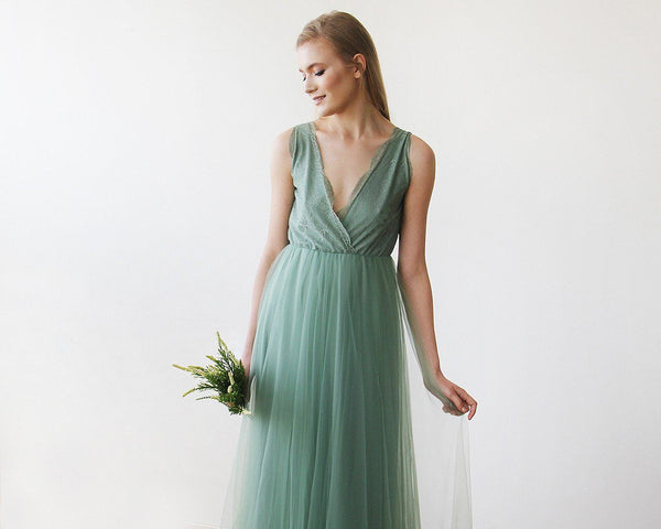 Sage tulle and lace maxi gown