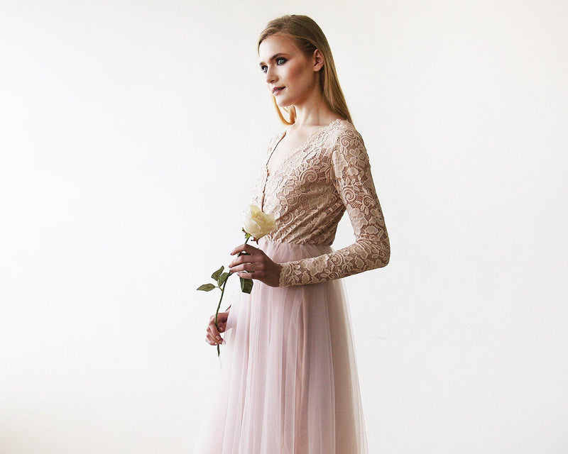 Blush Pink Tulle & Lace Midi Long Sleeves Dress 1144 - Blushfashion