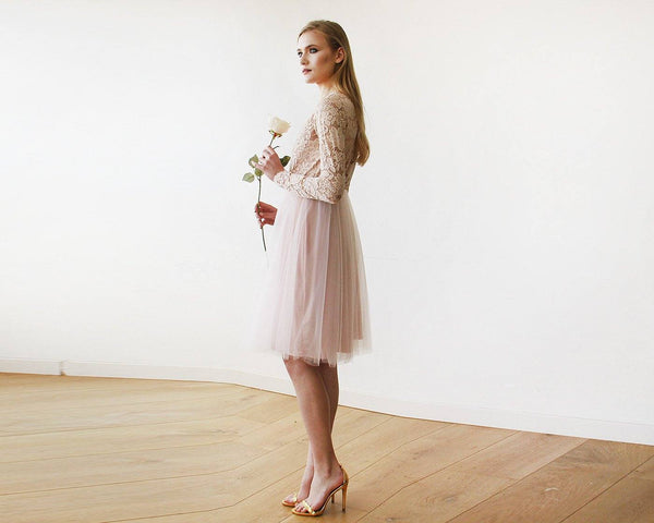 Blush Pink Tulle & Lace Midi Long Sleeves Dress