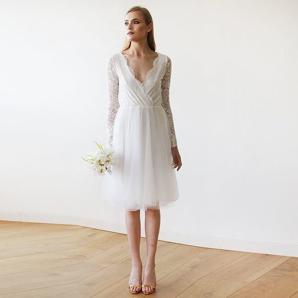 Ivory Tulle & Lace Midi  Dress #1144