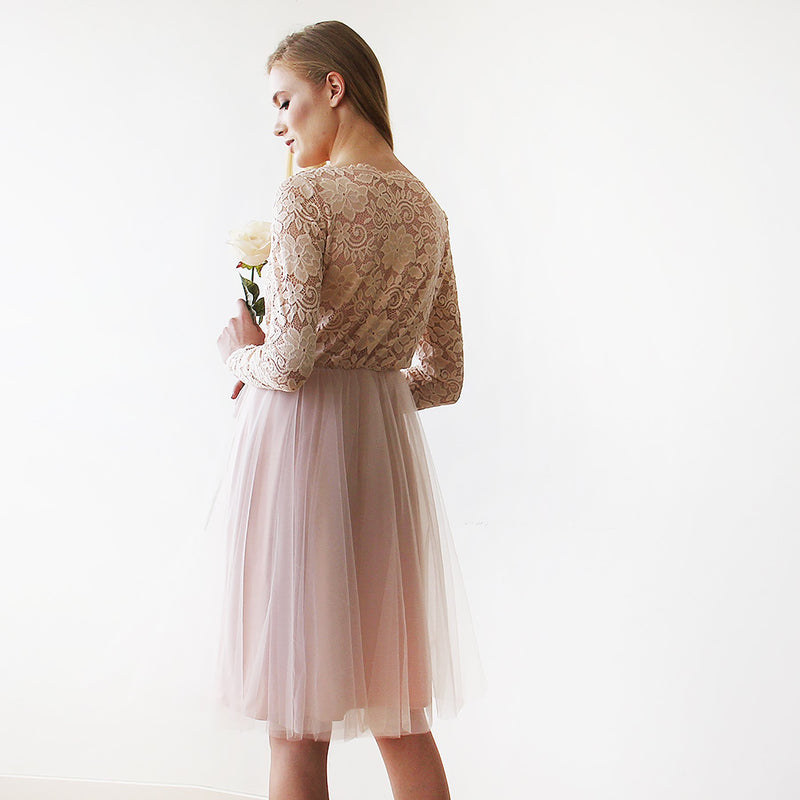 Blush Pink Tulle & Lace Midi Long Sleeves Dress #1144