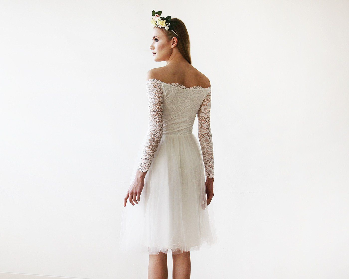 Off-The-Shoulder Ivory Lace and Tulle Wedding Midi Dress 1156 - Blushfashion