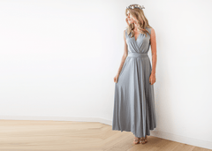 Grey sleeveless wrap maxi dress 1058