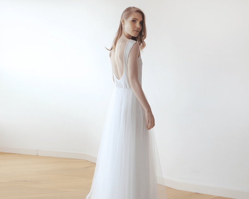 Ivory Backless Tulle  Dress  #1086