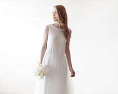 Ivory Backless Tulle Maxi Dress 1086