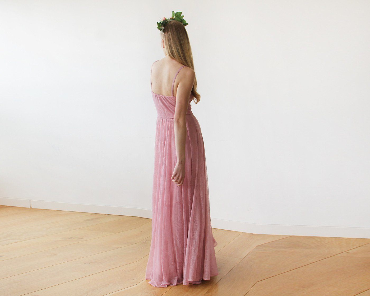 Lace Rose-Pink Sweetheart Neckline Maxi Dress SALE 1080