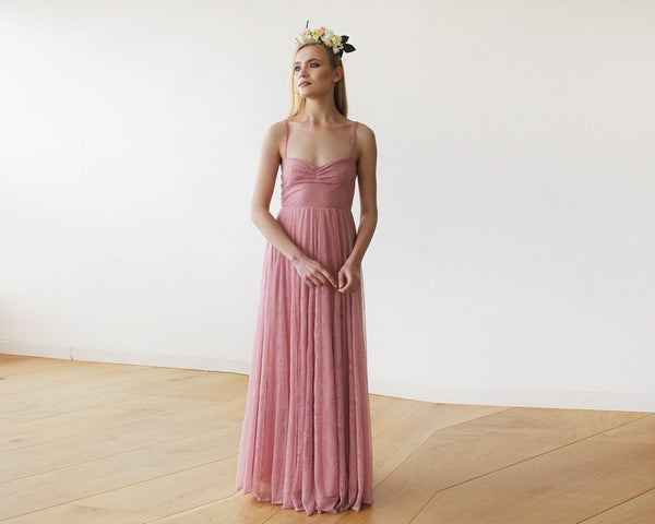 Lace Rose-Pink Sweetheart Neckline Maxi Dress 1080