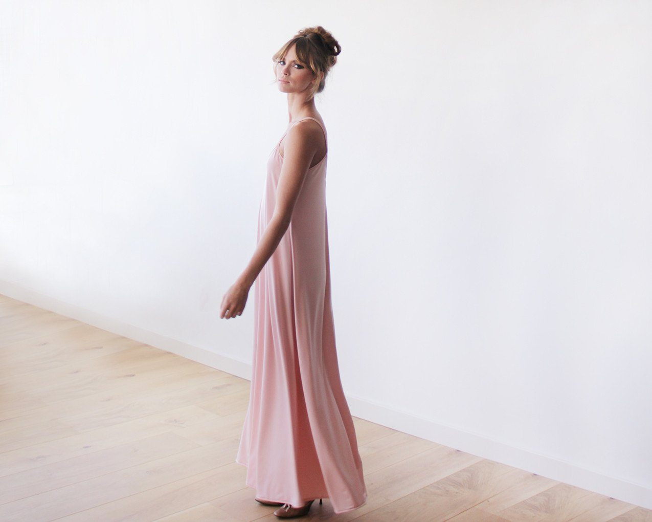 Pink Blush Basic Straps Maxi Dress 1026 - Blushfashion