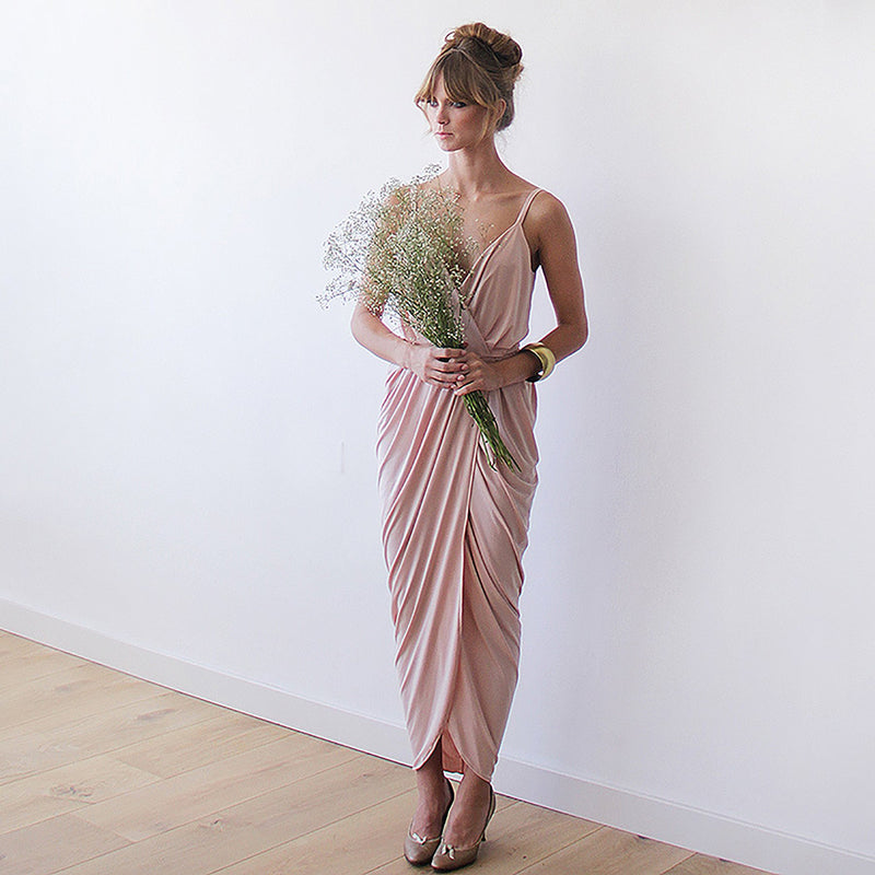 Blush pink bridesmaids wrap maxi dress #1033
