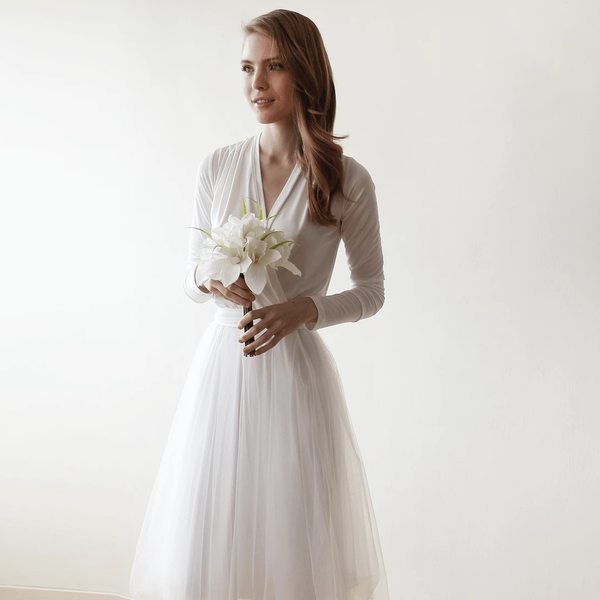 Ivory maxi tulle dress with long sleeves 1066 - Blushfashion