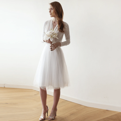 Ivory midi tulle dress with long sleeves 1068
