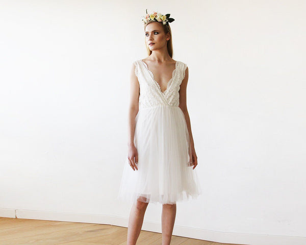 Ivory Tulle and Lace Short Wedding Dress 1157