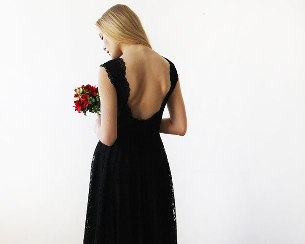 Open back lace midi sleeveless black dress SALE 1143